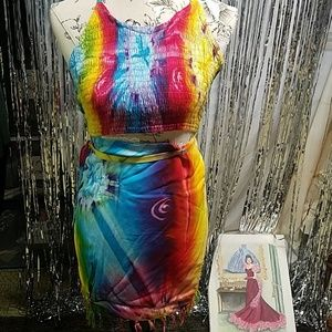 ❤💙💛Rainbow❤ two piece halter and sarong one size